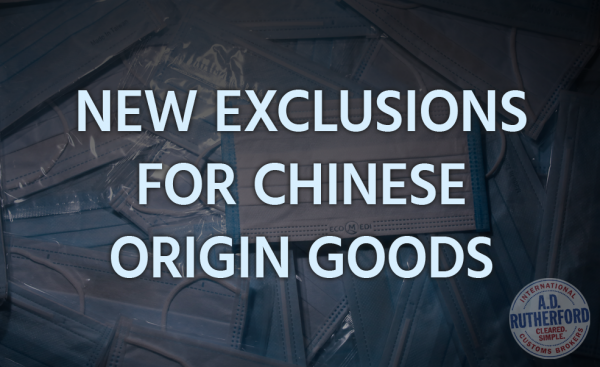 New Exclusions For Chinese Origin Foods